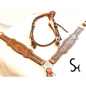 Leather Breast Collar and Headstall For Sale