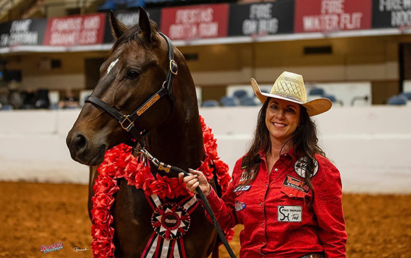 Breeders Challenge Futurity and 0pen 4D Champion 2021 Sharin Hall and Hello Stella
